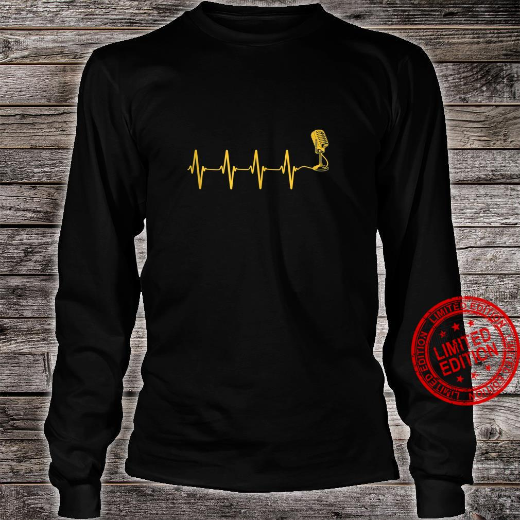 Microphone Heartbeat Singer Radio Choir Singing Podcasting Shirt long sleeved