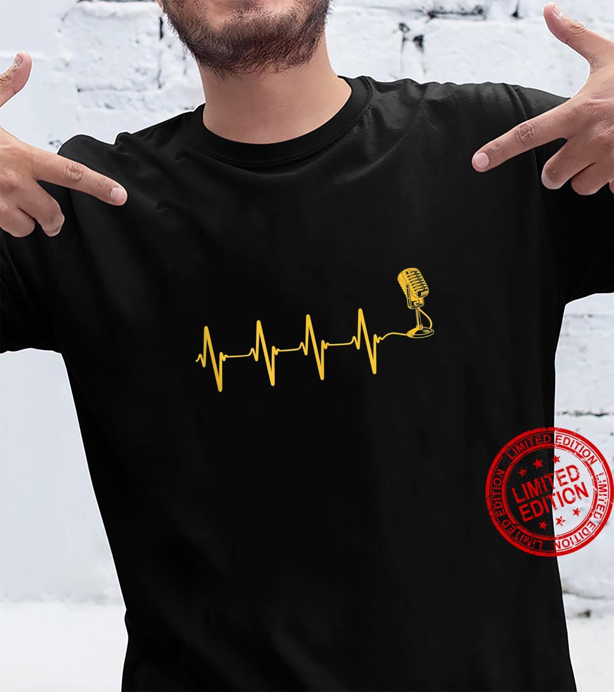 Microphone Heartbeat Singer Radio Choir Singing Podcasting Shirt