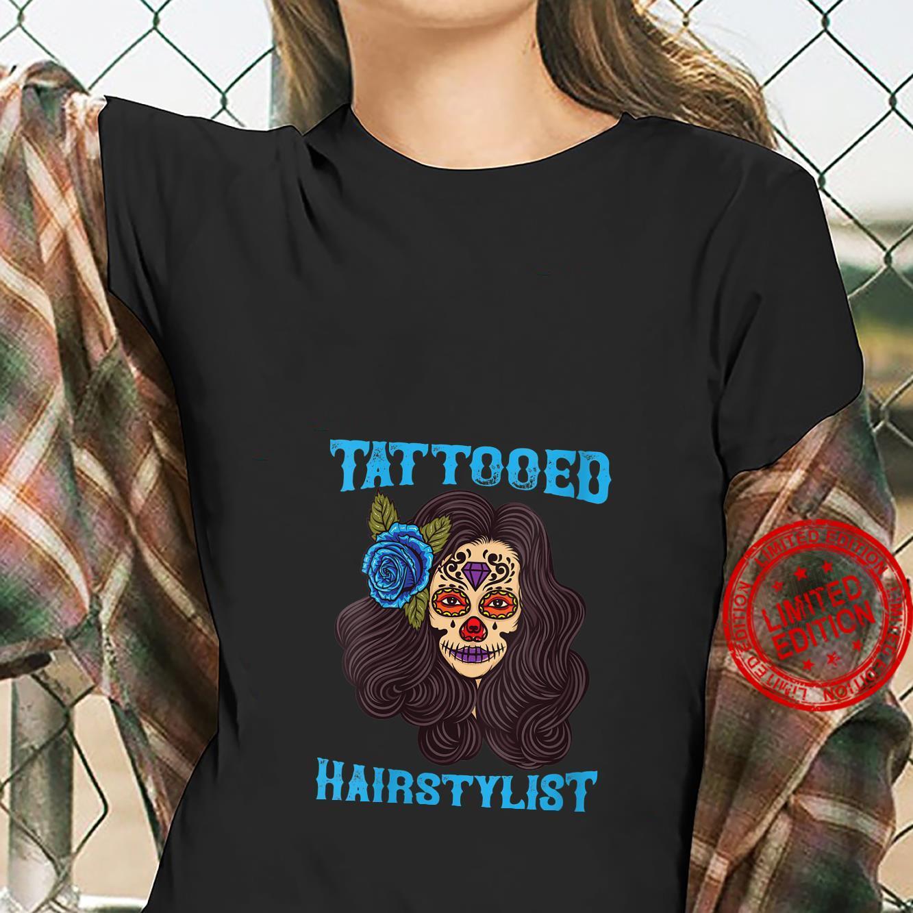 Tattooed Hairstylist Funny Hairdresser Shirt ladies tee