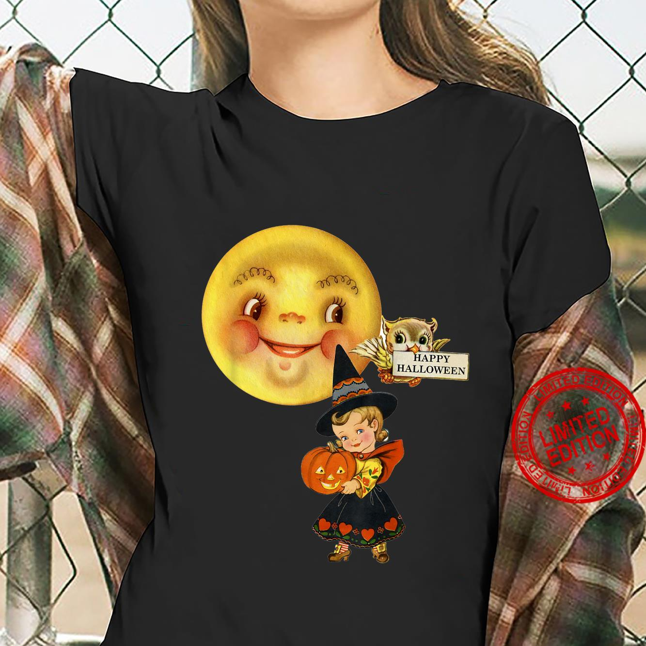 Vintage Retro Halloween fancy dress little girl moon & owl Shirt ladies tee
