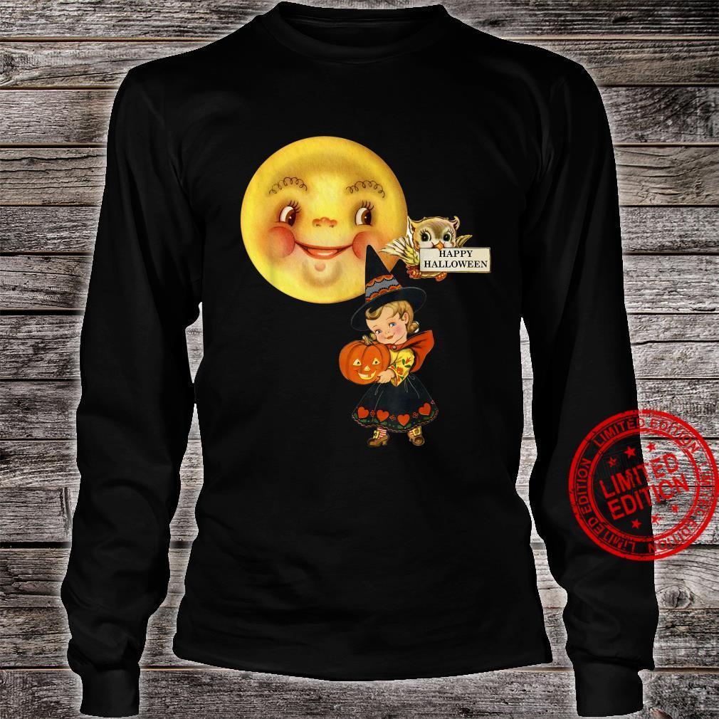 Vintage Retro Halloween fancy dress little girl moon & owl Shirt long sleeved