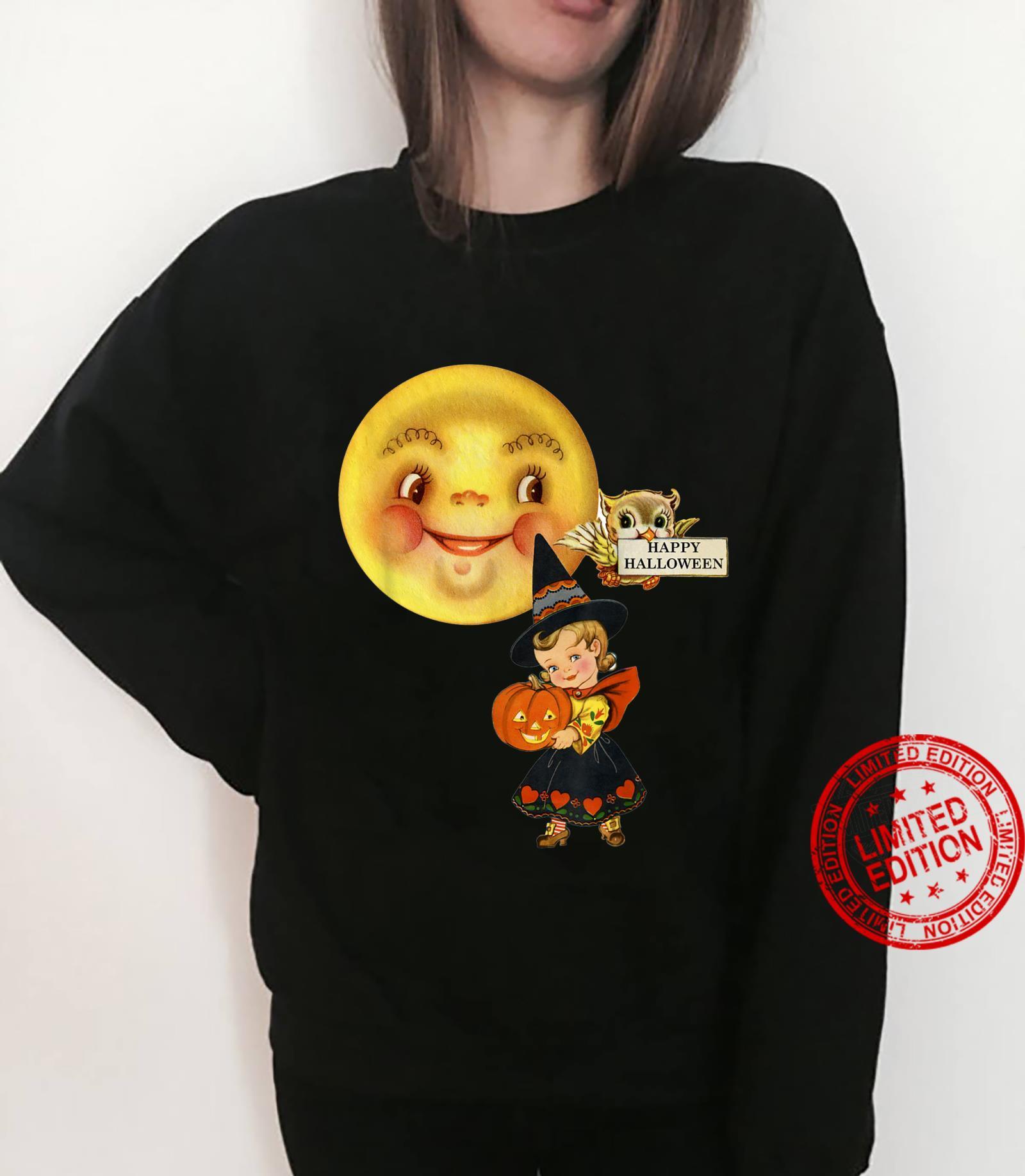 Vintage Retro Halloween fancy dress little girl moon & owl Shirt sweater