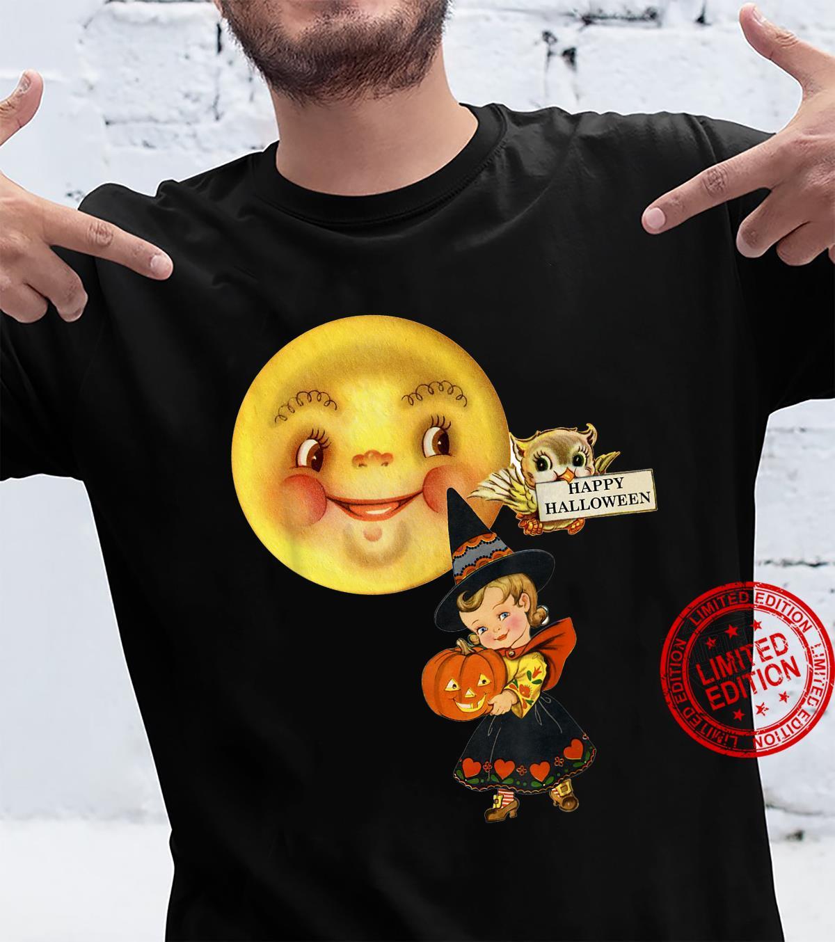 Vintage Retro Halloween fancy dress little girl moon & owl Shirt