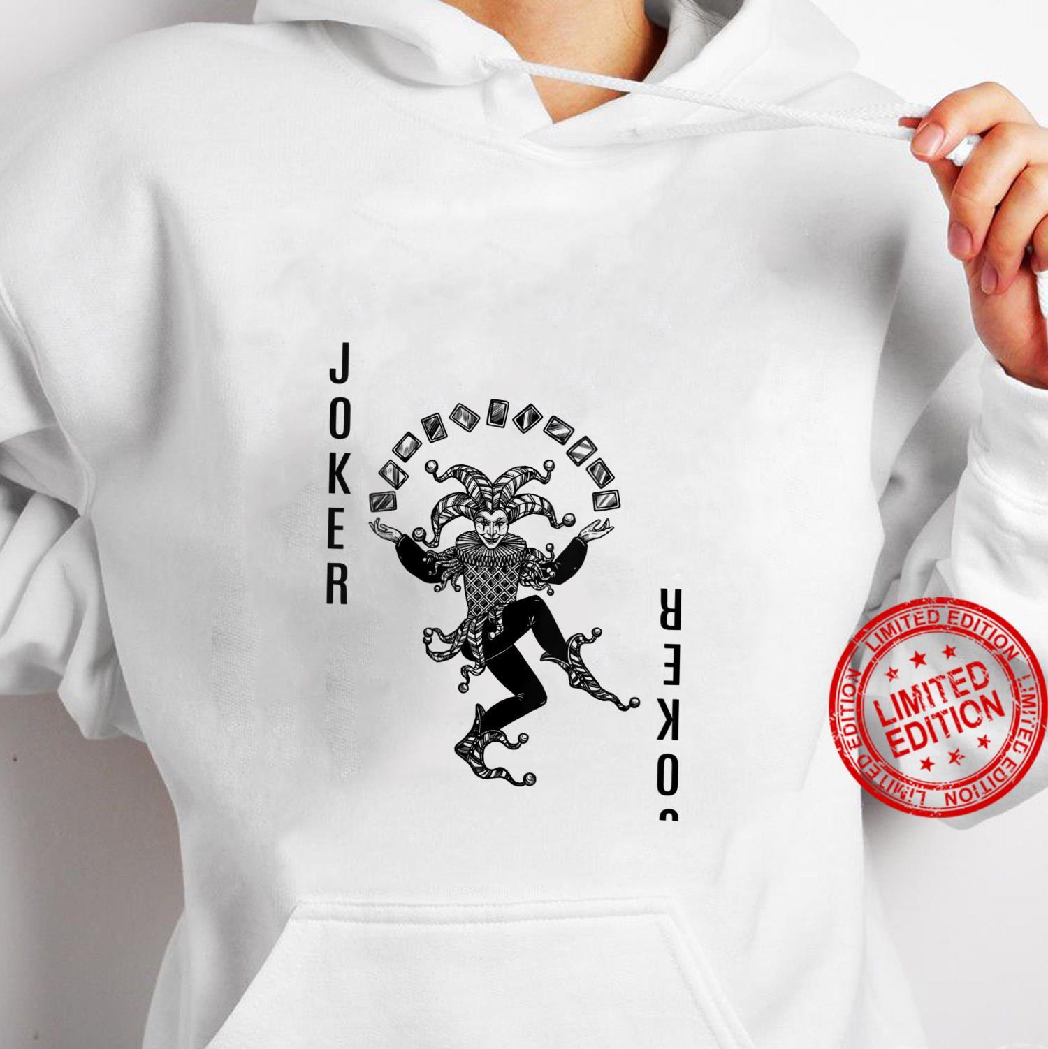 Womens black and white Joker Card Deck Halloween Shirt hoodie