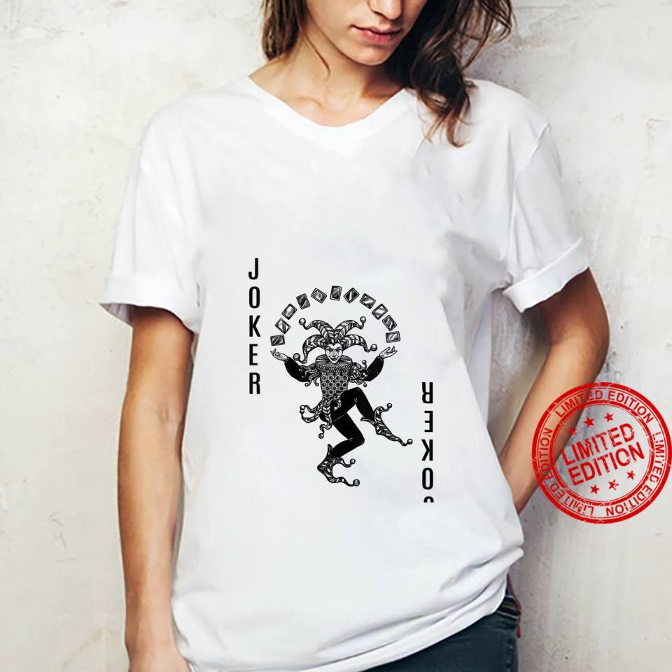 Womens black and white Joker Card Deck Halloween Shirt ladies tee