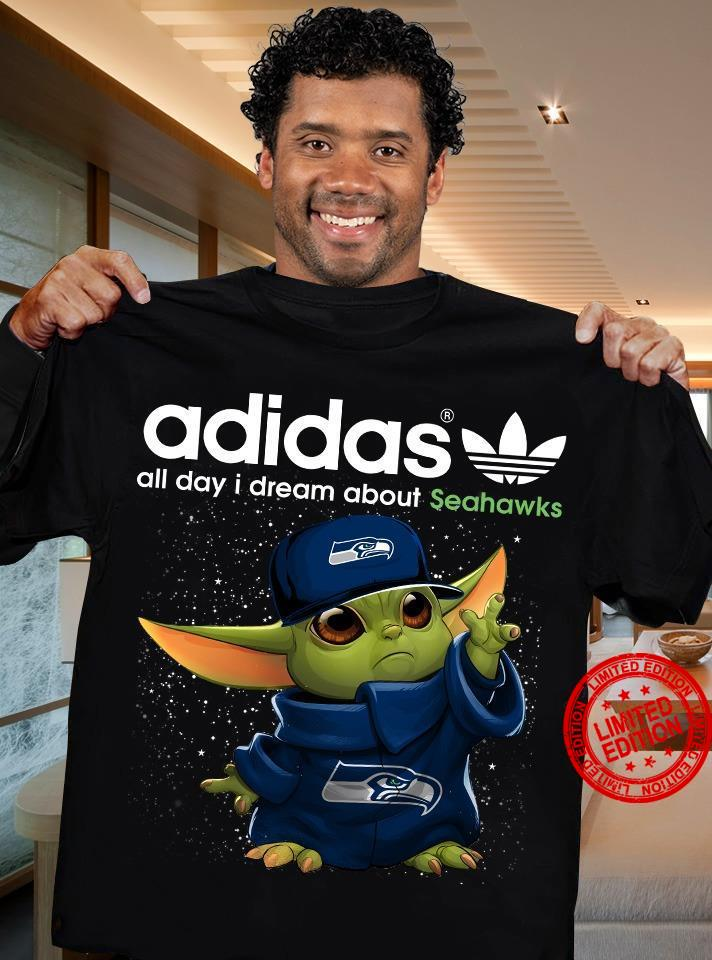 Baby Yoda Adidas All Day I Dream About Seahawks Shirt